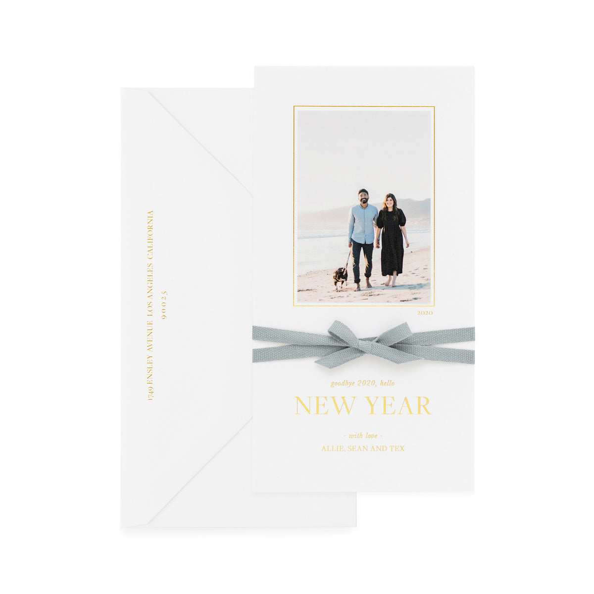 White holiday photo card with goodbye 2020, hello new year with a blue ribbon