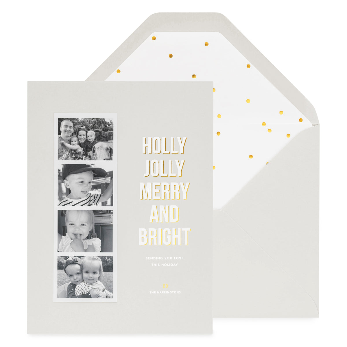 Grey holiday photo card with photo strip with Holly Jolly Merry and Bright