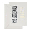 Grey holiday photo card with photo strip with Holly Jolly Merry and Bright showing gold foil address on envelope