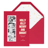 Red holiday photo card with photo strip with Holly Jolly Merry and Bright