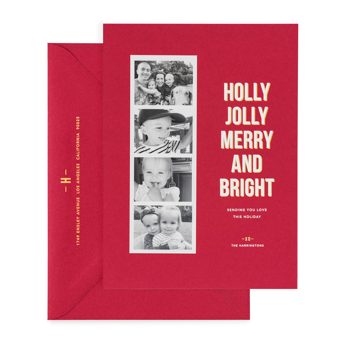 Red holiday photo card with photo strip with Holly Jolly Merry and Bright showing gold foil address on envelope