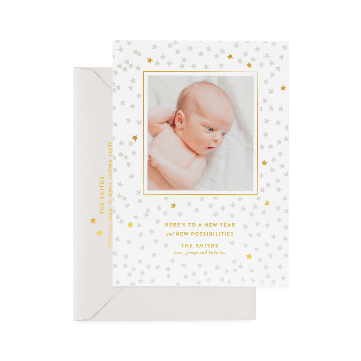 Gold and grey star holiday photo card