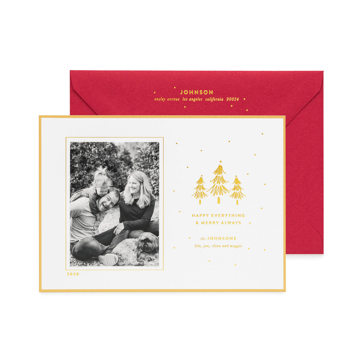 White holiday photo card with Happy Everything Merry Always paired with a red envelope