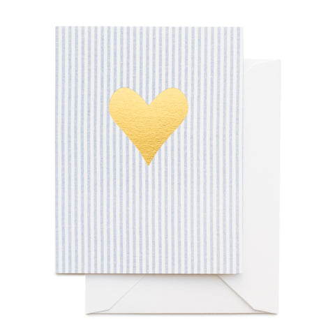 Blue and white stripe card printed with a gold foil heart