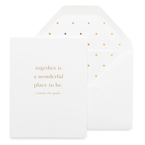Gold foil printed white card with winnie the pooh quote and a polka dot liner