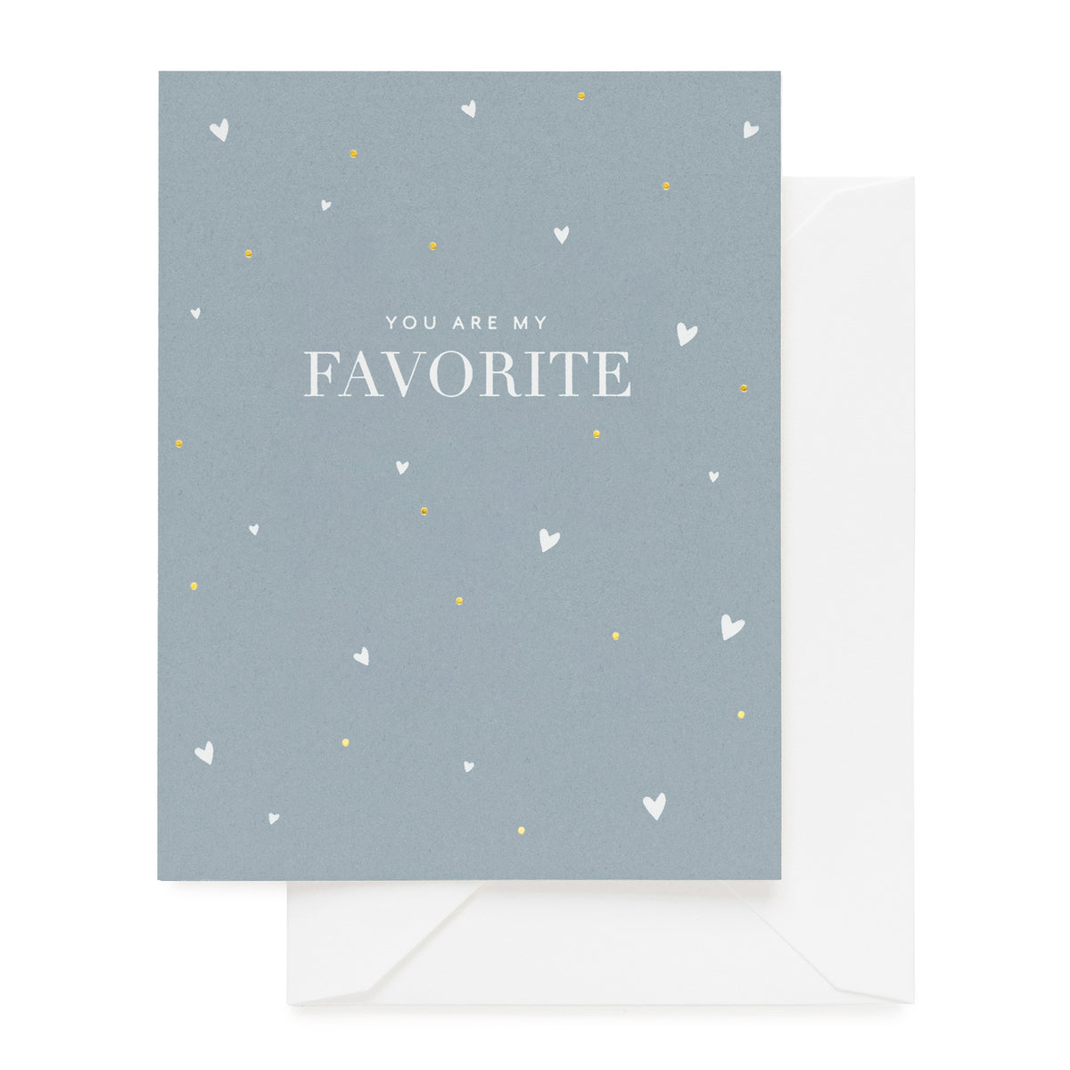 Slate blue card printed with dot and star pattern and You Are My Favorite