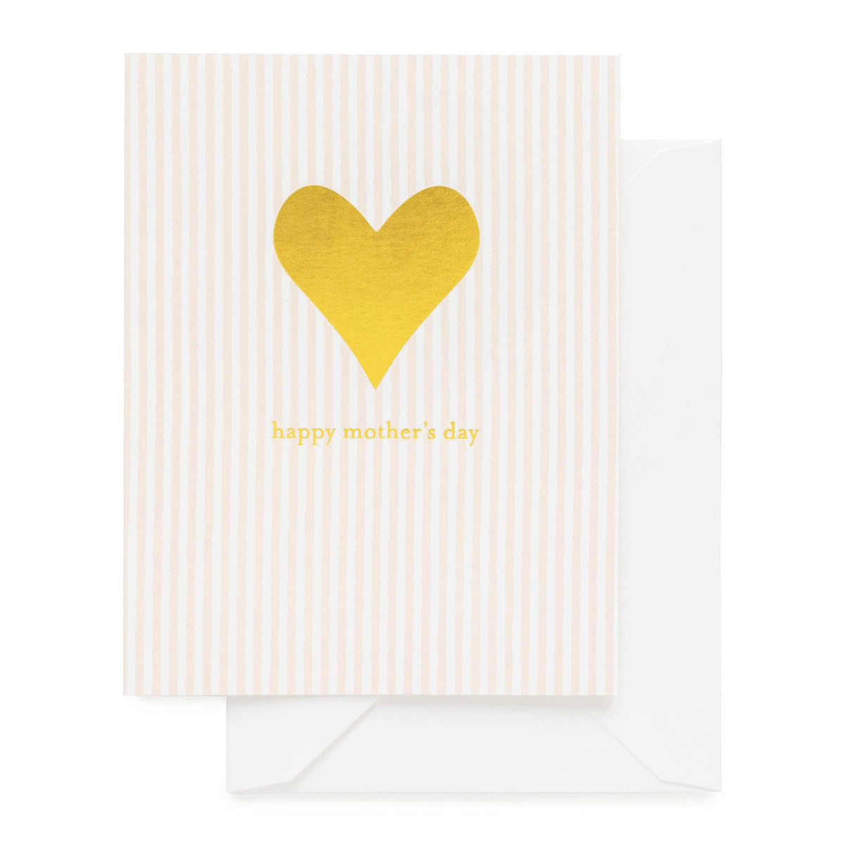 Pink stripe card printed with gold foil heart and happy mother's day