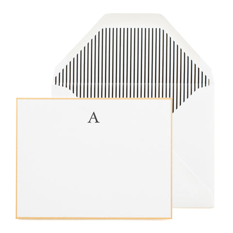 Gold Bordered Flat Note Card with Black Monogram Initial.