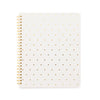 White spiral notebook with gold foil dots