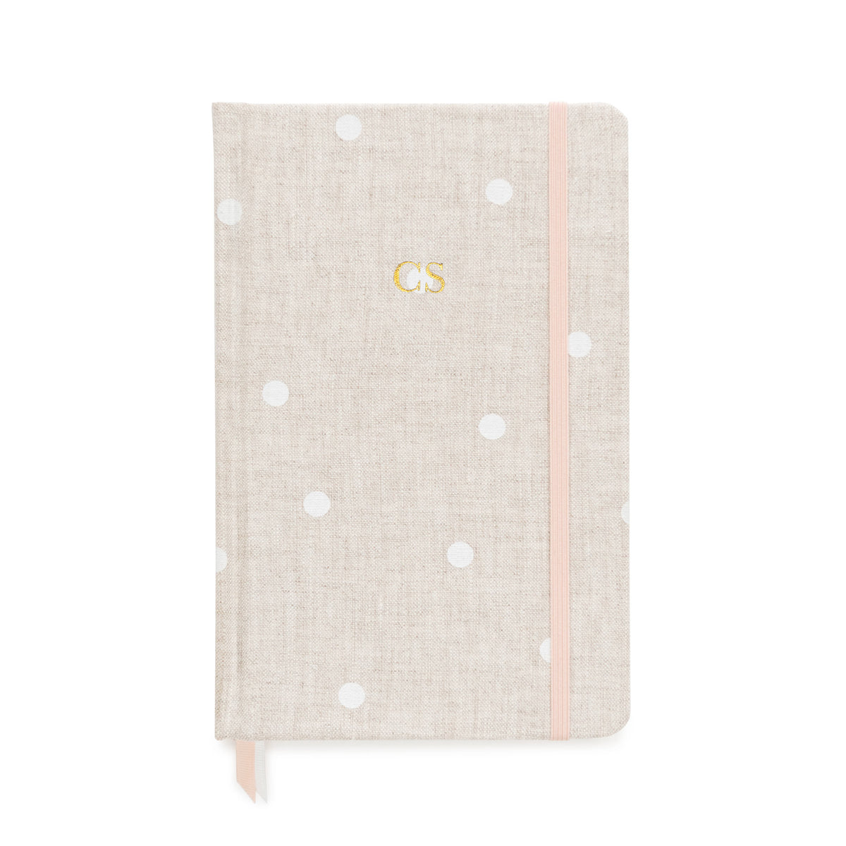 Flax and white dot journal with gold monogram