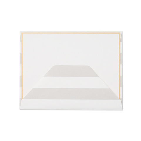 Gold Bordered Note Card Set with Grey Stripe Envelope