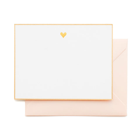 Gold Bordered Flat Note Card Set with gold heart and pale pink envelope