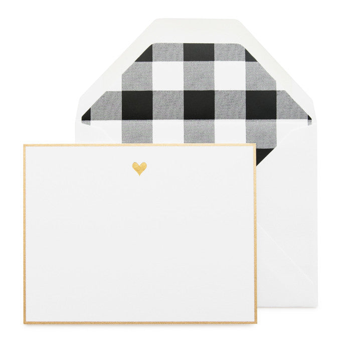 Gold Bordered Flat Note Card Set with gold heart and black buffalo check liner.