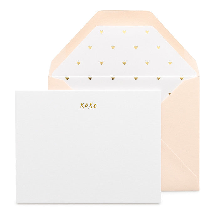XOXO note set with pale pink envelope and gold foil heart liner