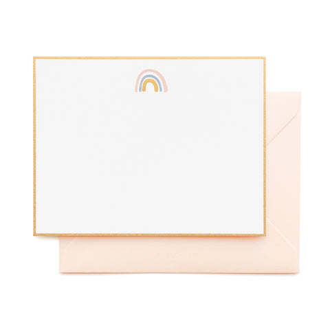 Gold Bordered Flat Note Card set with rainbow in pink, blue and gold foil