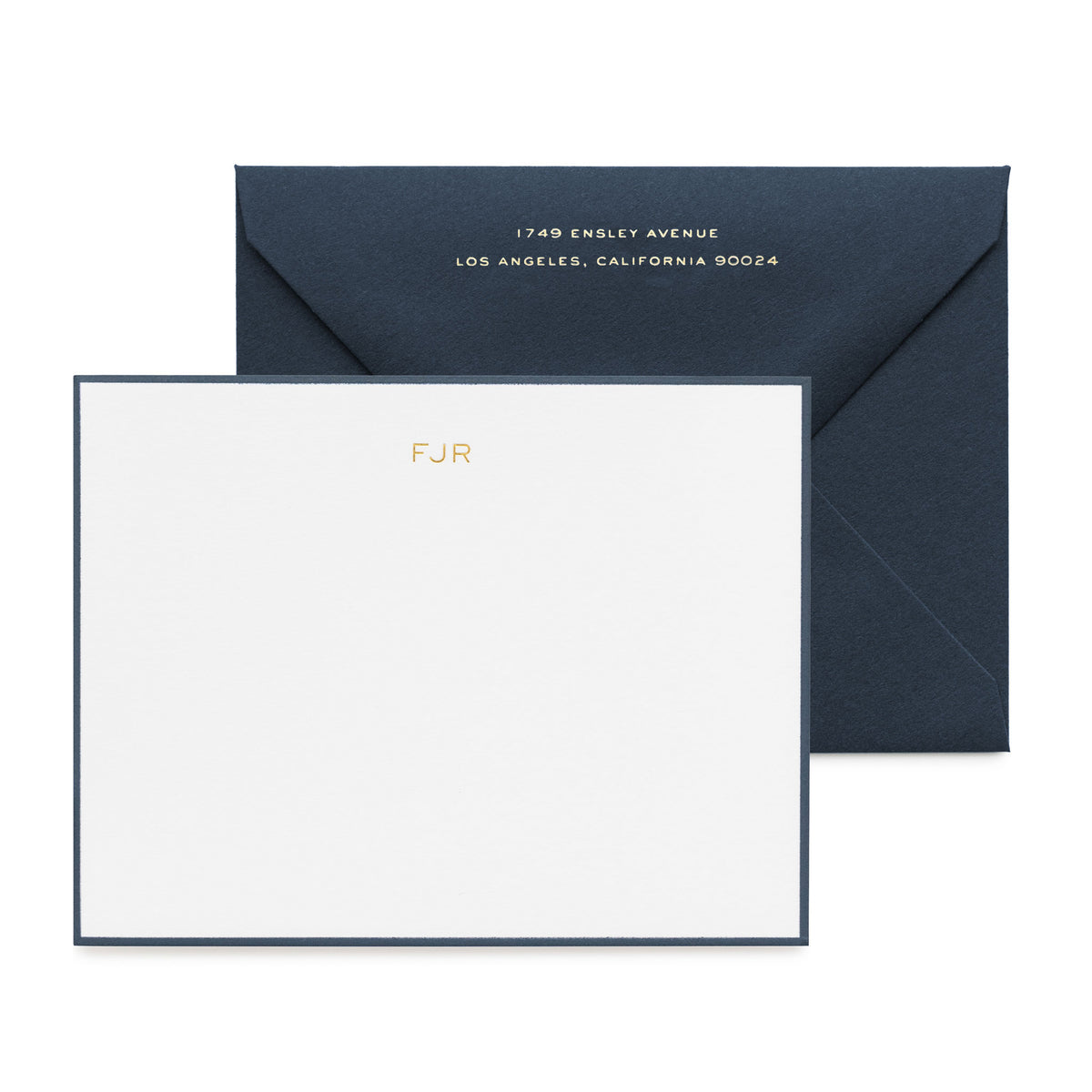 Navy stationery set with gold foil initials