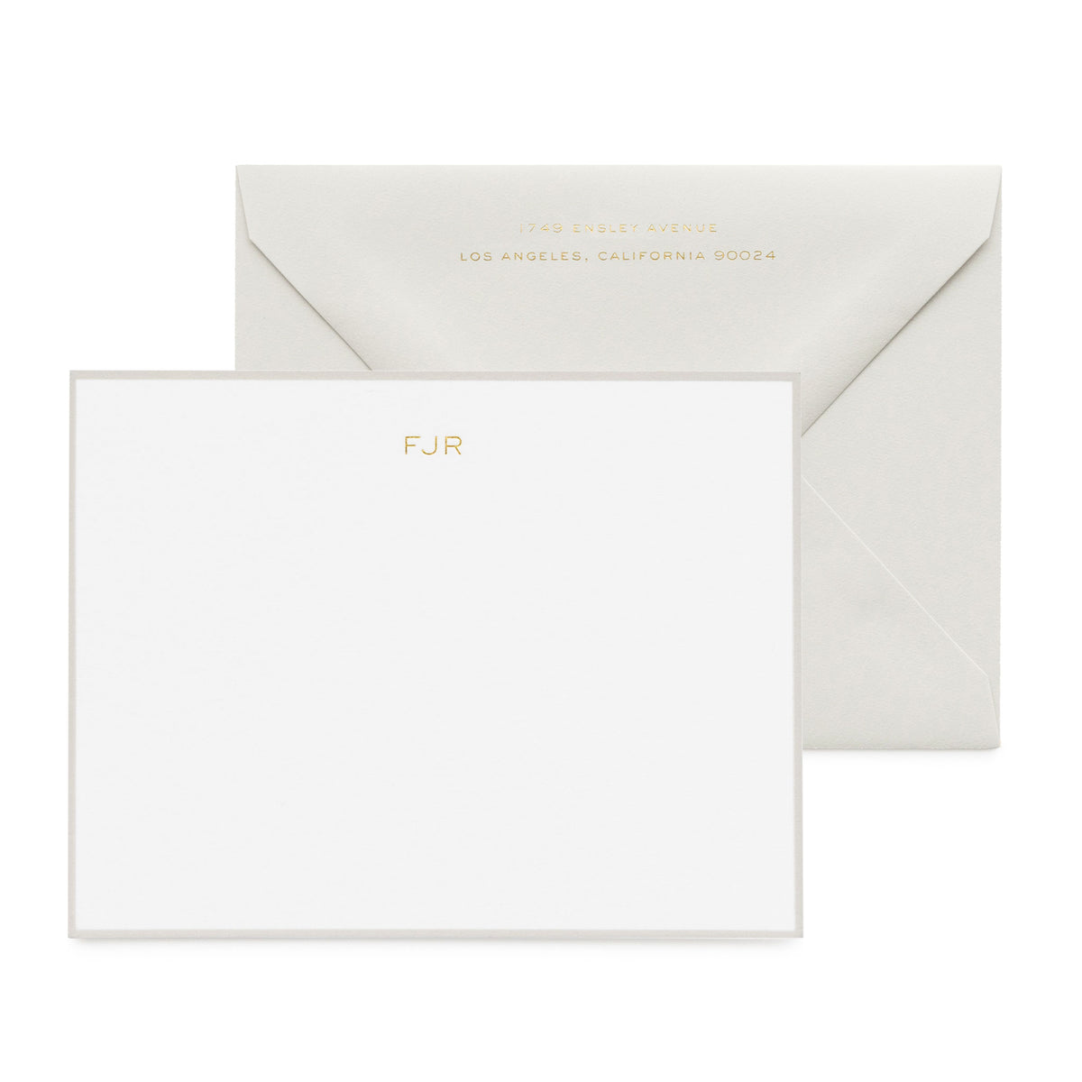 Grey personalized stationery set with gold foil initials
