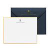 Navy stationery set with gold hand painted border