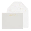 Grey stationery set with gold foil script name and gold splatter dot envelope liner