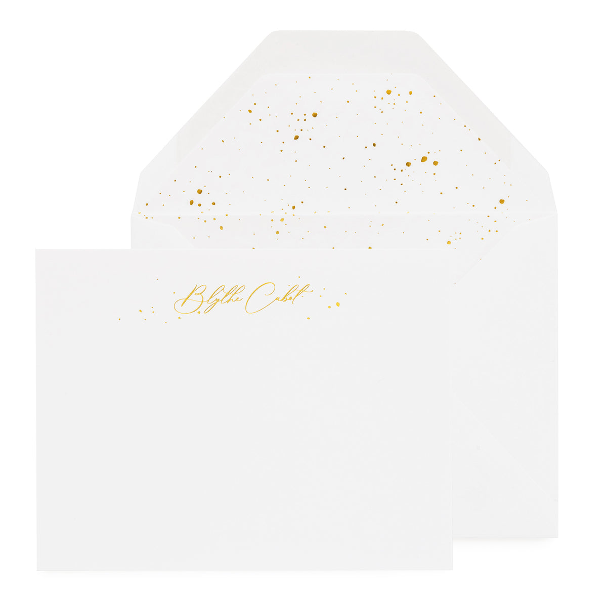 White stationery set with gold foil script name and gold splatter dot envelope liner