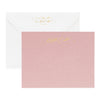 Dusty rose stationery set with back of envelope shown with gold foil return address