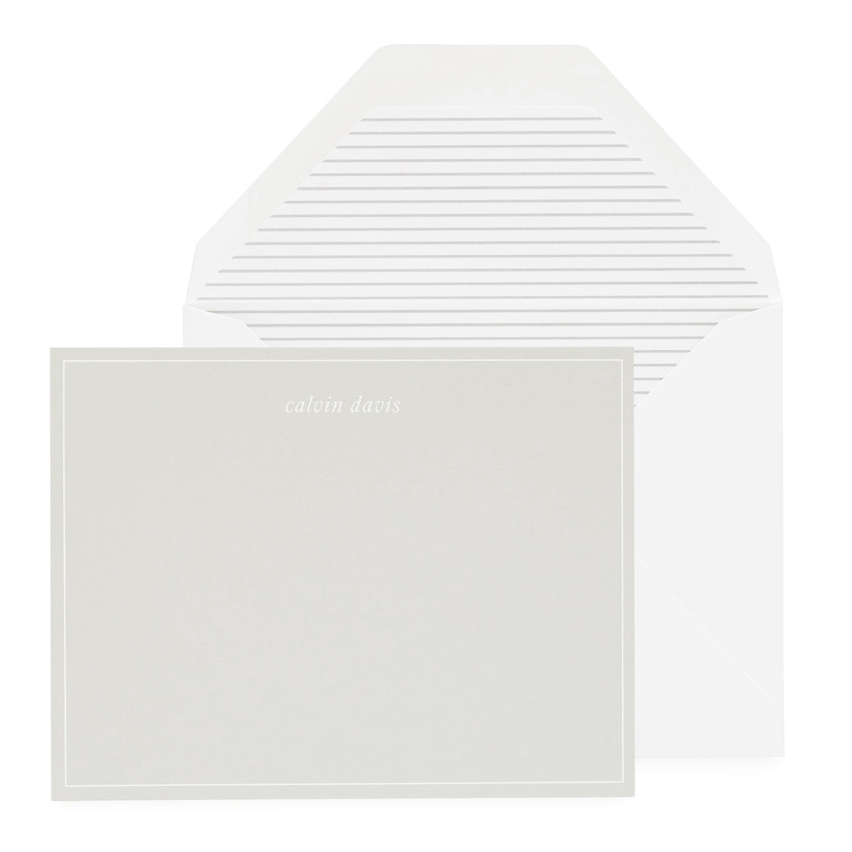 Grey paper personalized stationery with grey striped liner