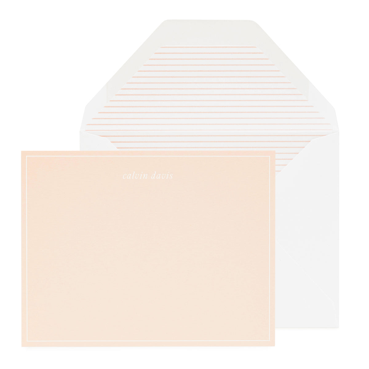 Pale pink personalized stationery set with pink striped liner