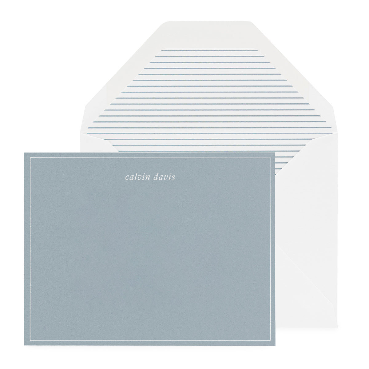 Slate blue personalized note card with white ink and stripe liner