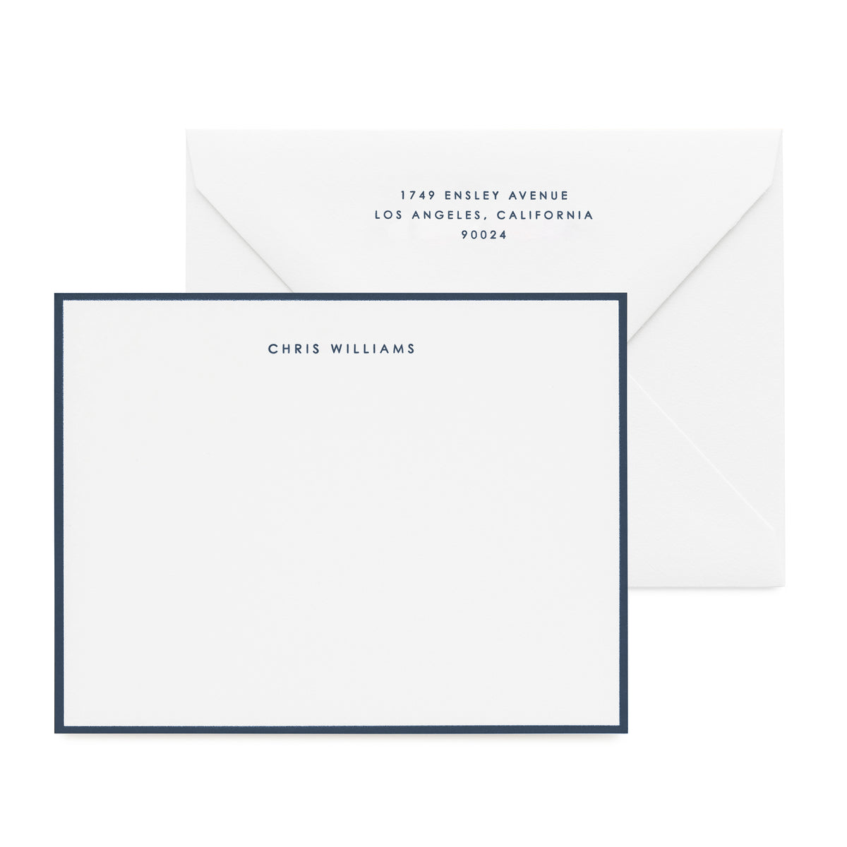 Navy and white stationery set with navy hand painted border