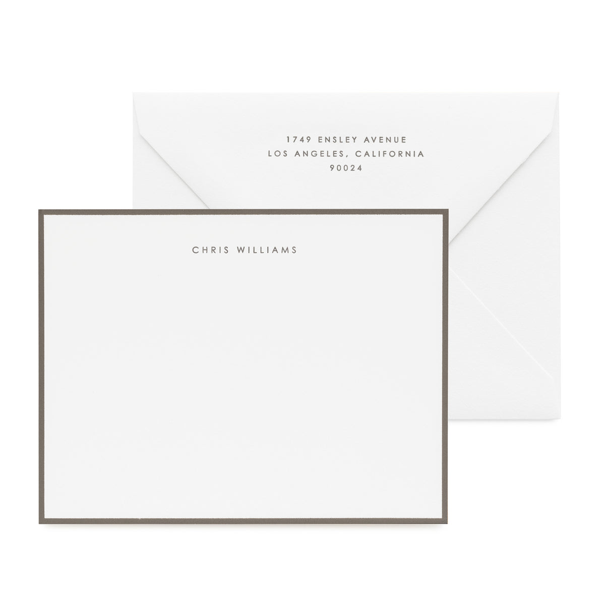 Classic men's stationery set printed in dark grey letterpress with a dark grey painted border