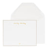 Personalized stationery with gold foil name and grey border