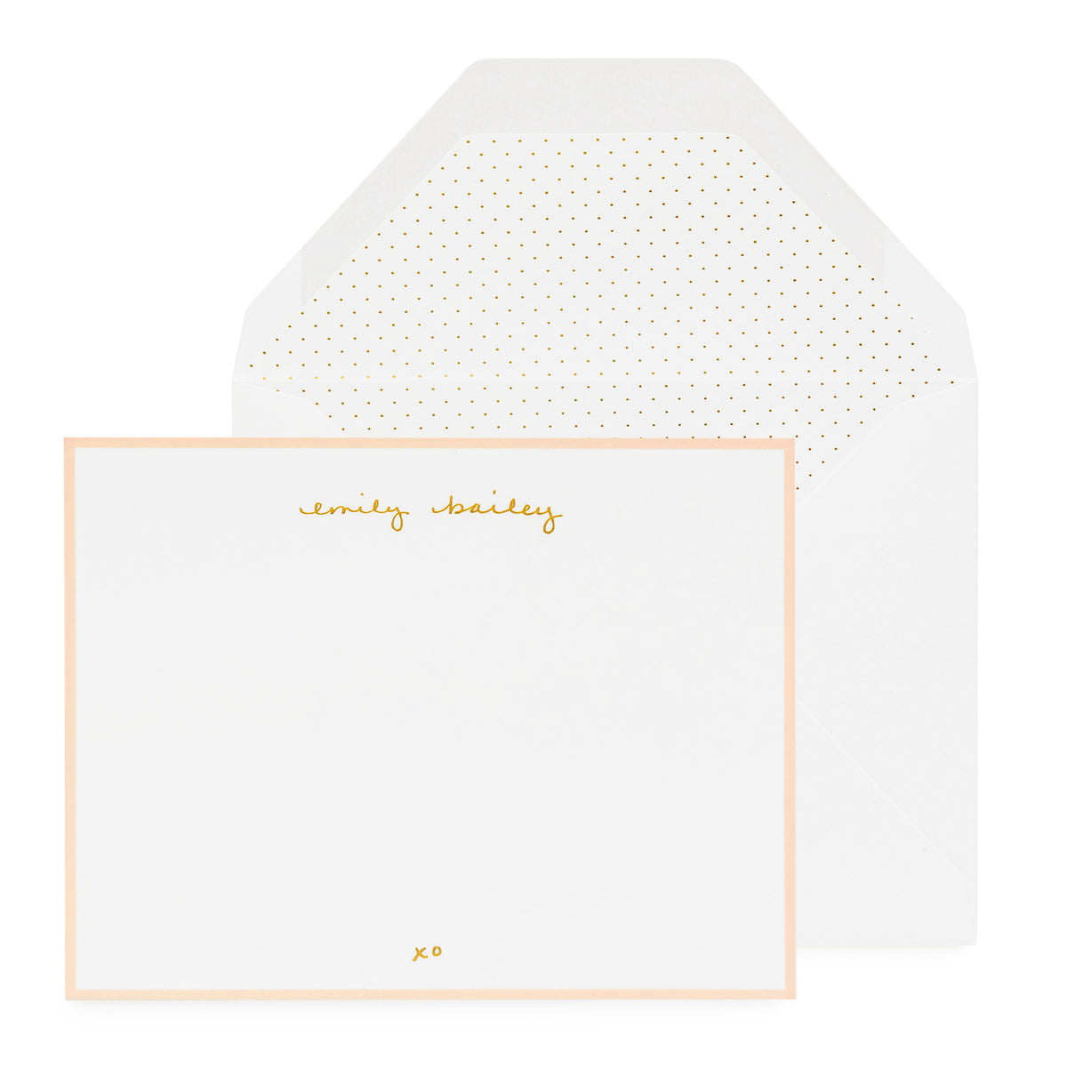Personalized stationery with gold foil name and pink border