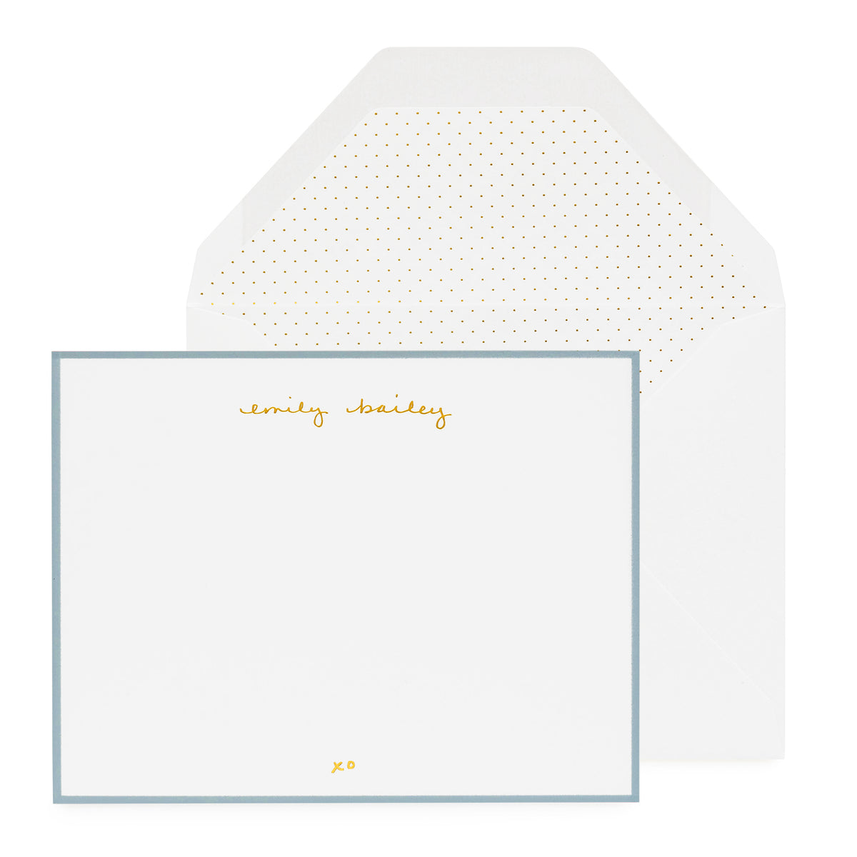 Personalized stationery with gold foil name and blue border