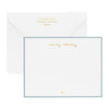 Personalized stationery with gold foil name and address and blue border