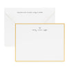 Gold bordered custom stationery with hand lettered name and heart with closed envelope