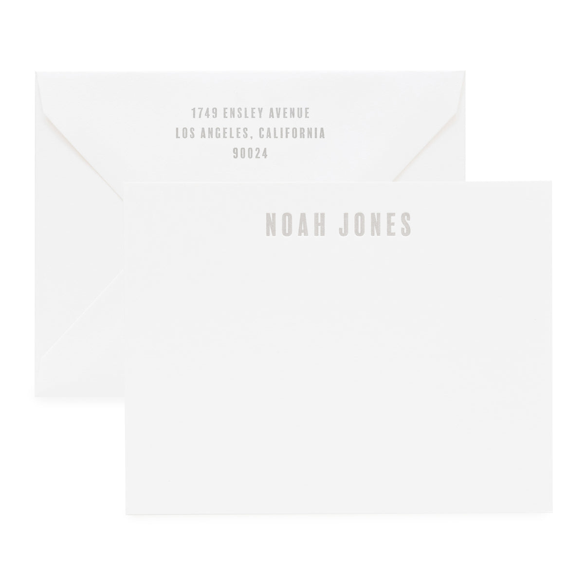 White and grey custom stationery and envelope
