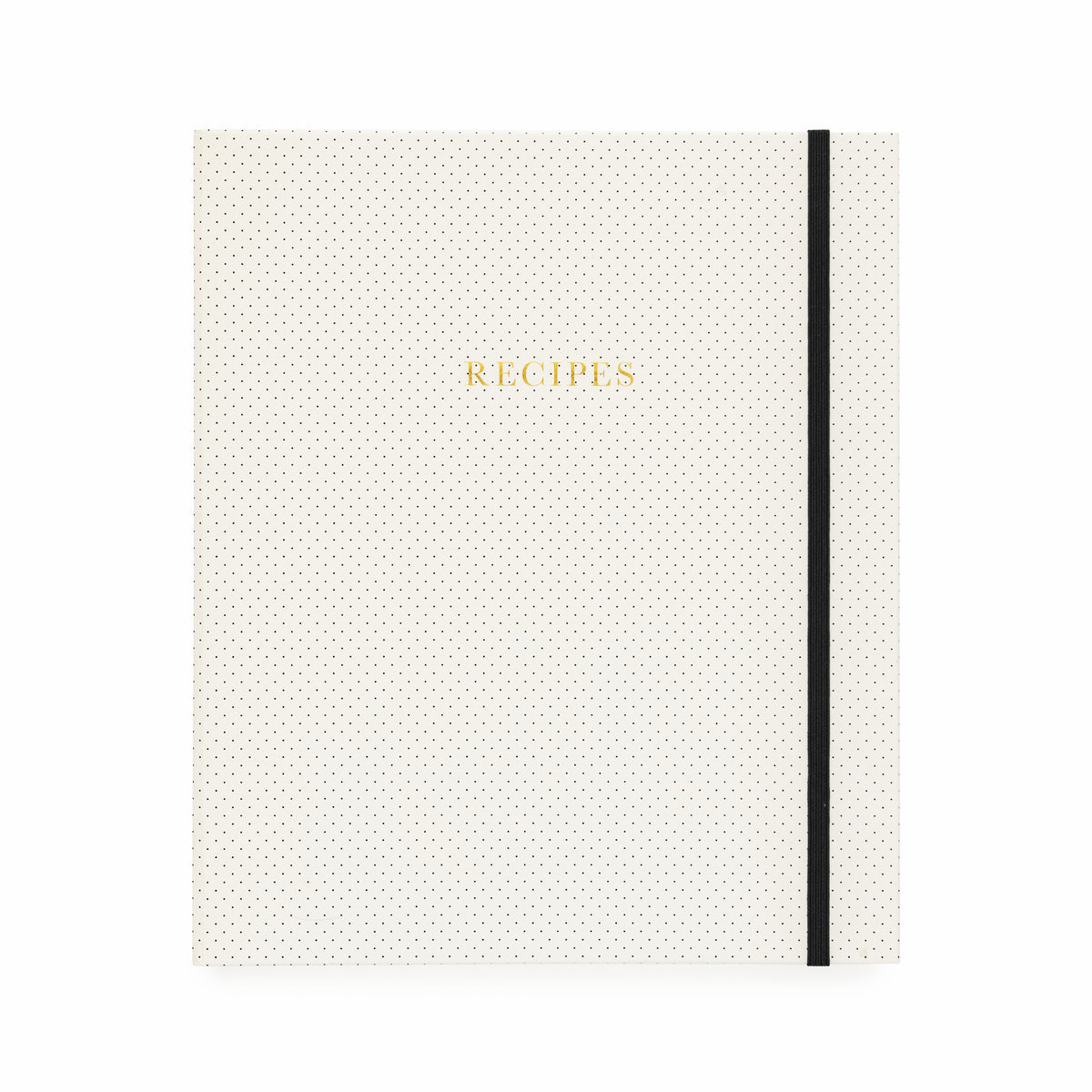 Cream and black dot binder with gold foil recipes and a black elastic closure