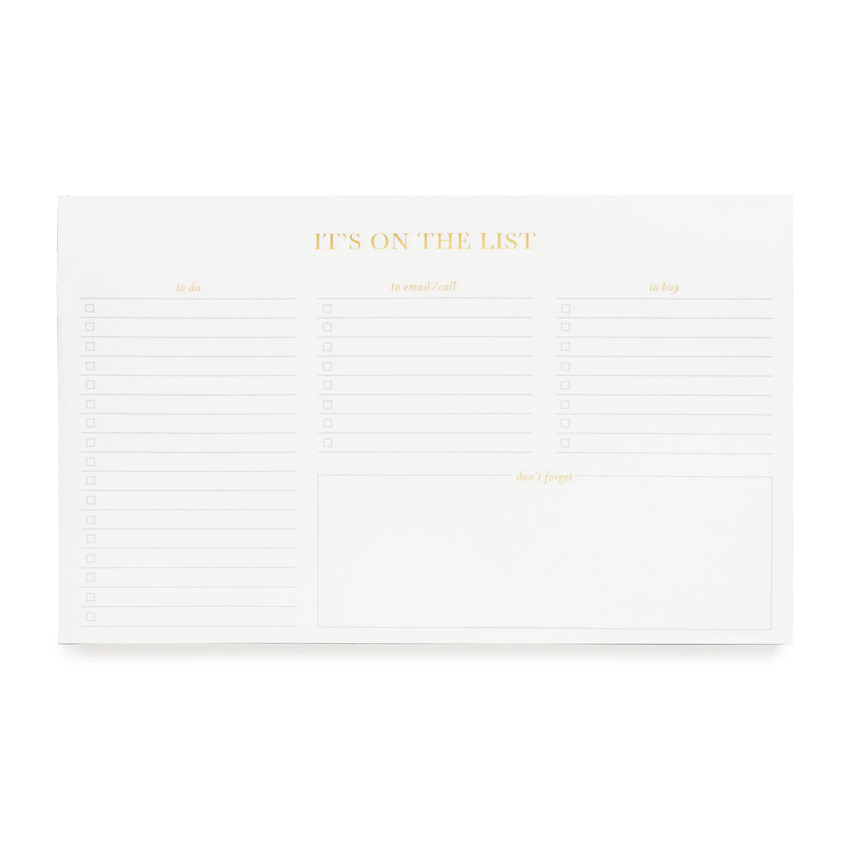 Planning note pad - It's on the list