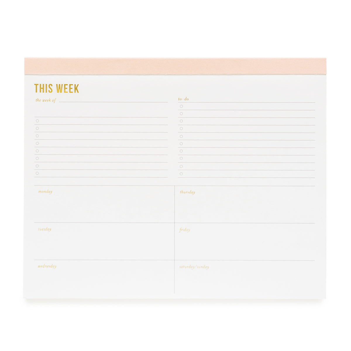 "Large notepad with ""This Week"" with pale pink binding and gold foil details."