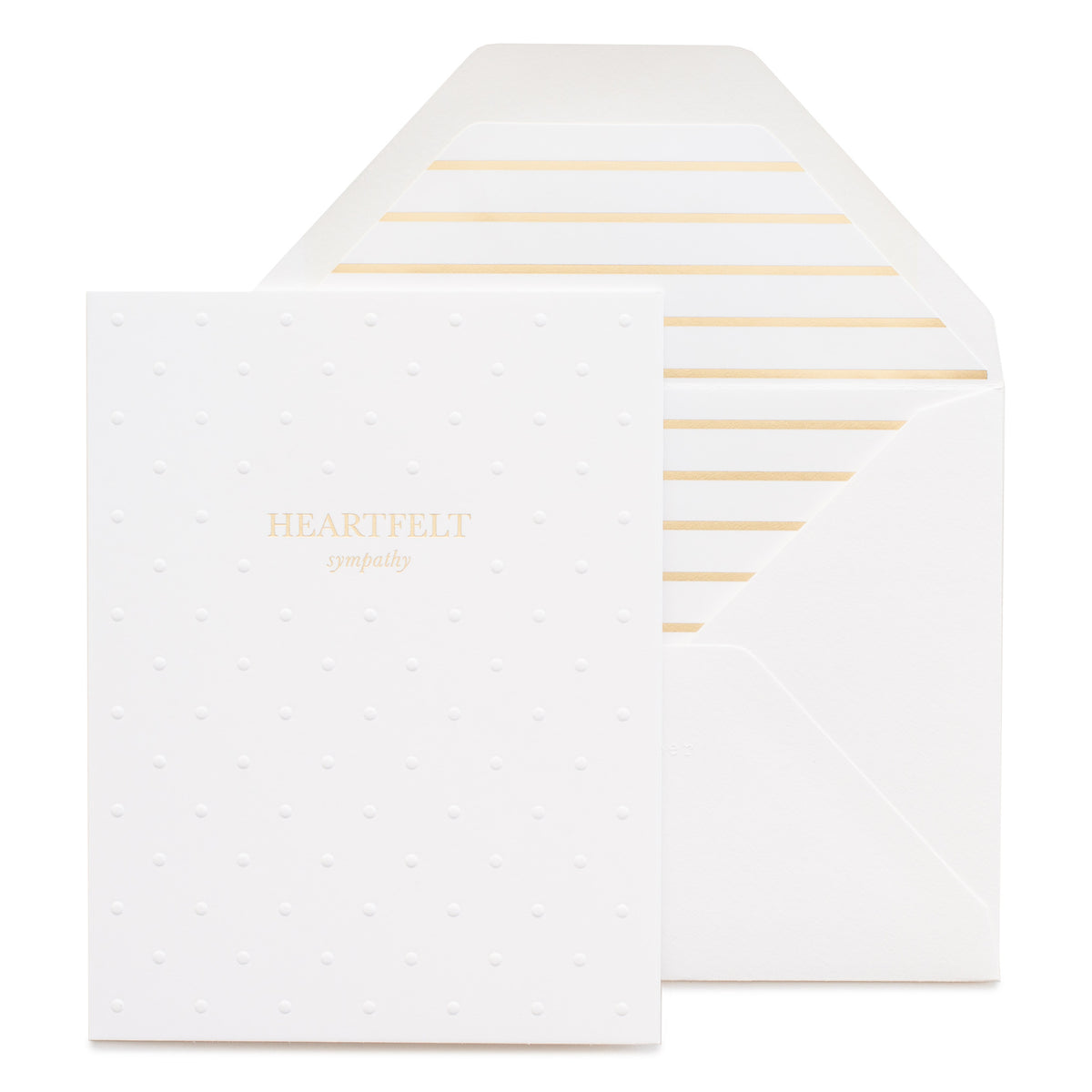 White embossed dot card printed with gold foil heartfelt sympathy