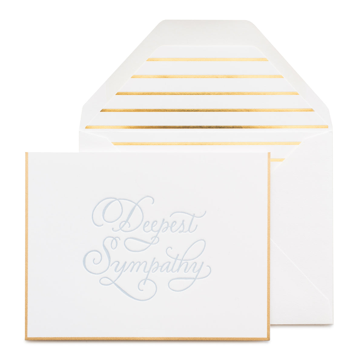 Gold bordered card printed with deepest sympathy in blue ink with a gold striped envelope