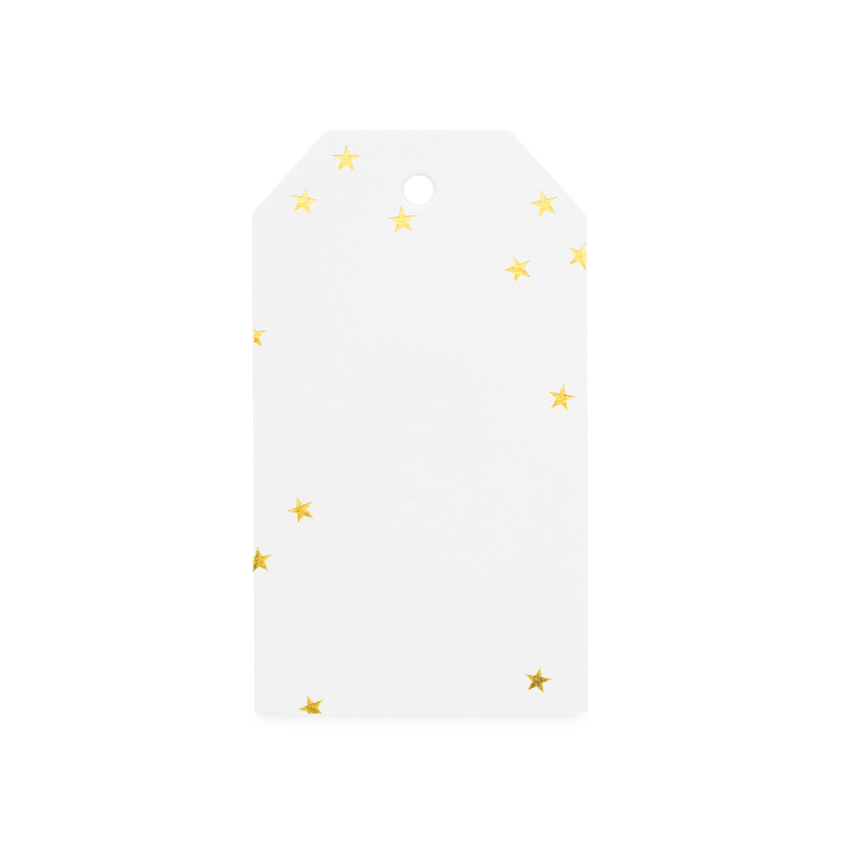 White tag with tiny gold foil stars