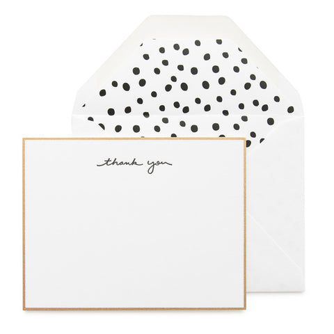 Gold Bordered Flat Note Card Set with black thank you and dalmation dot envelope liner.