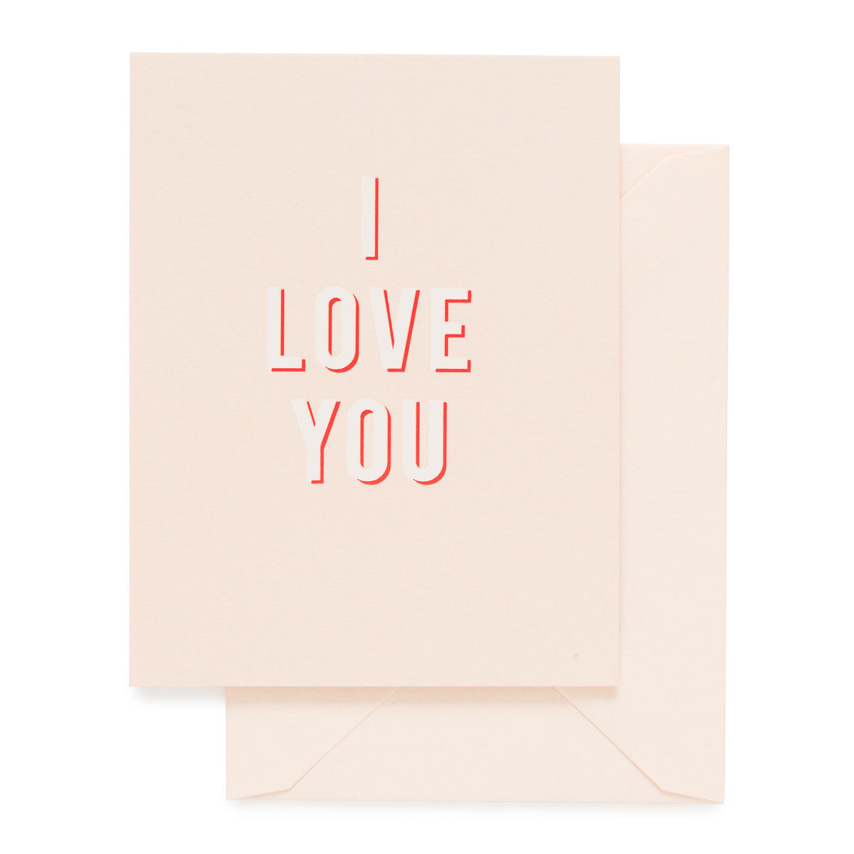 Pale pink card printed with red and white ink I LOVE YOU