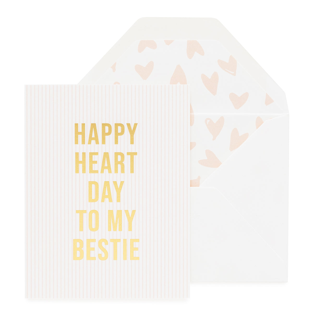 Pink stripe card with happy heart day to my bestie