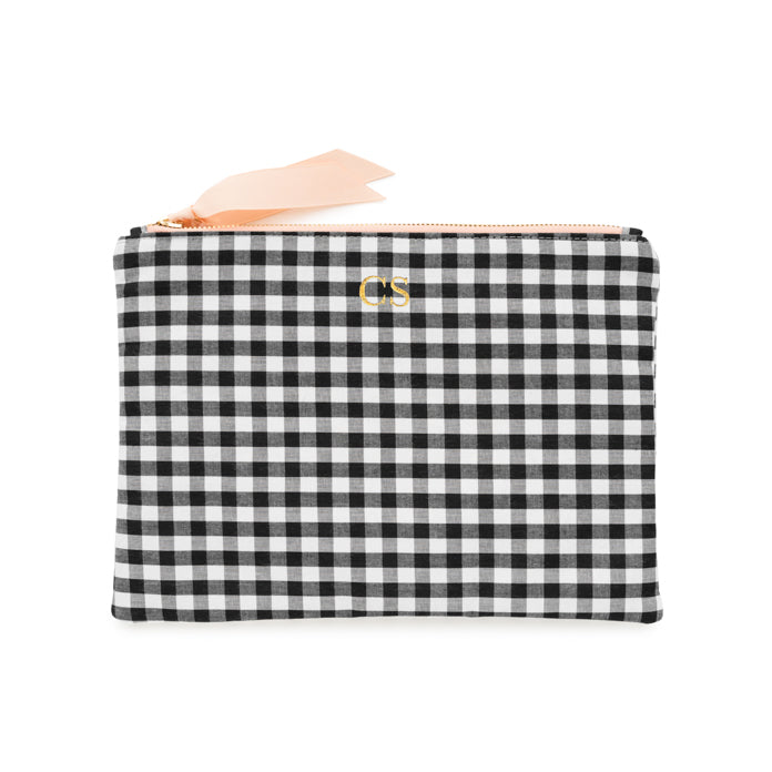 Black and white check zip pouch with gold foil monogram
