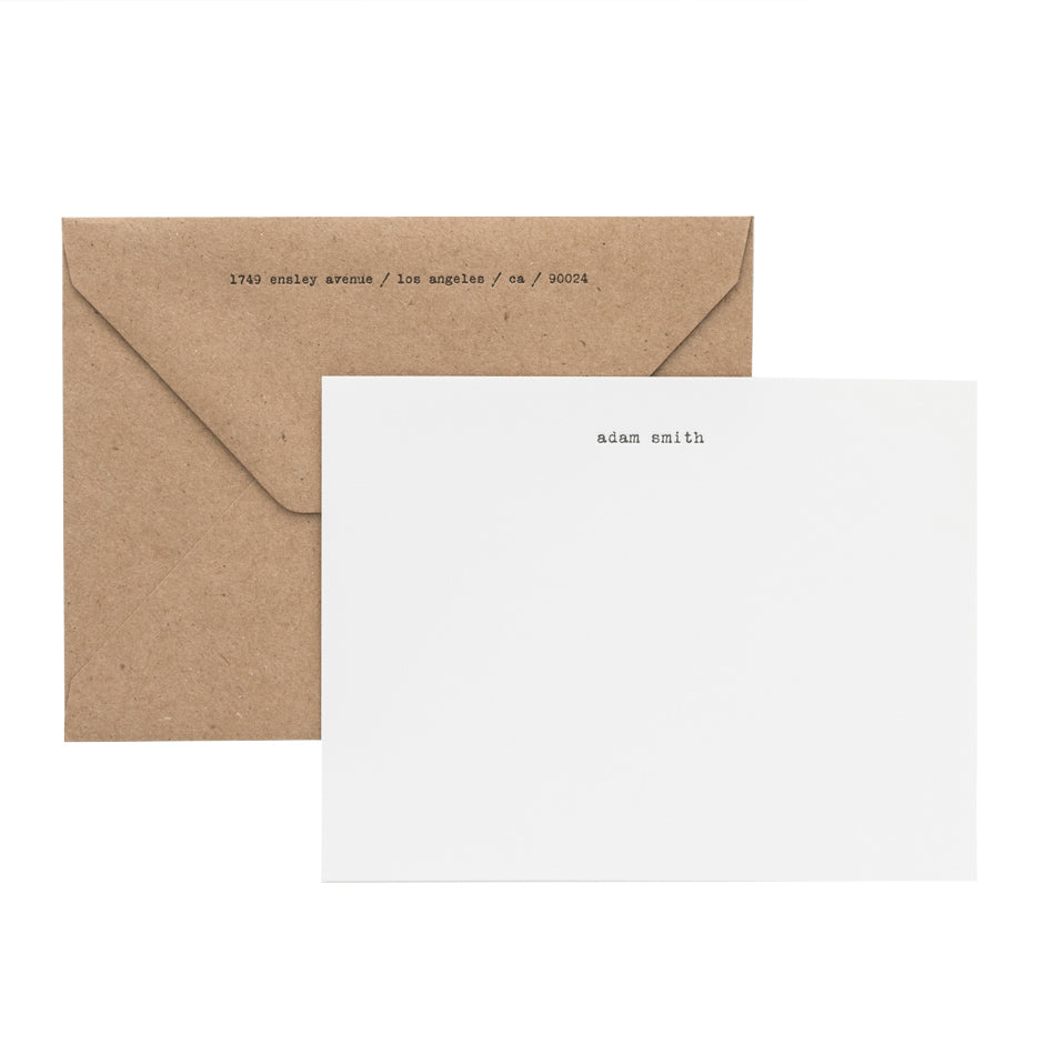 White and black letterpress custom stationery with kraft paper envelope
