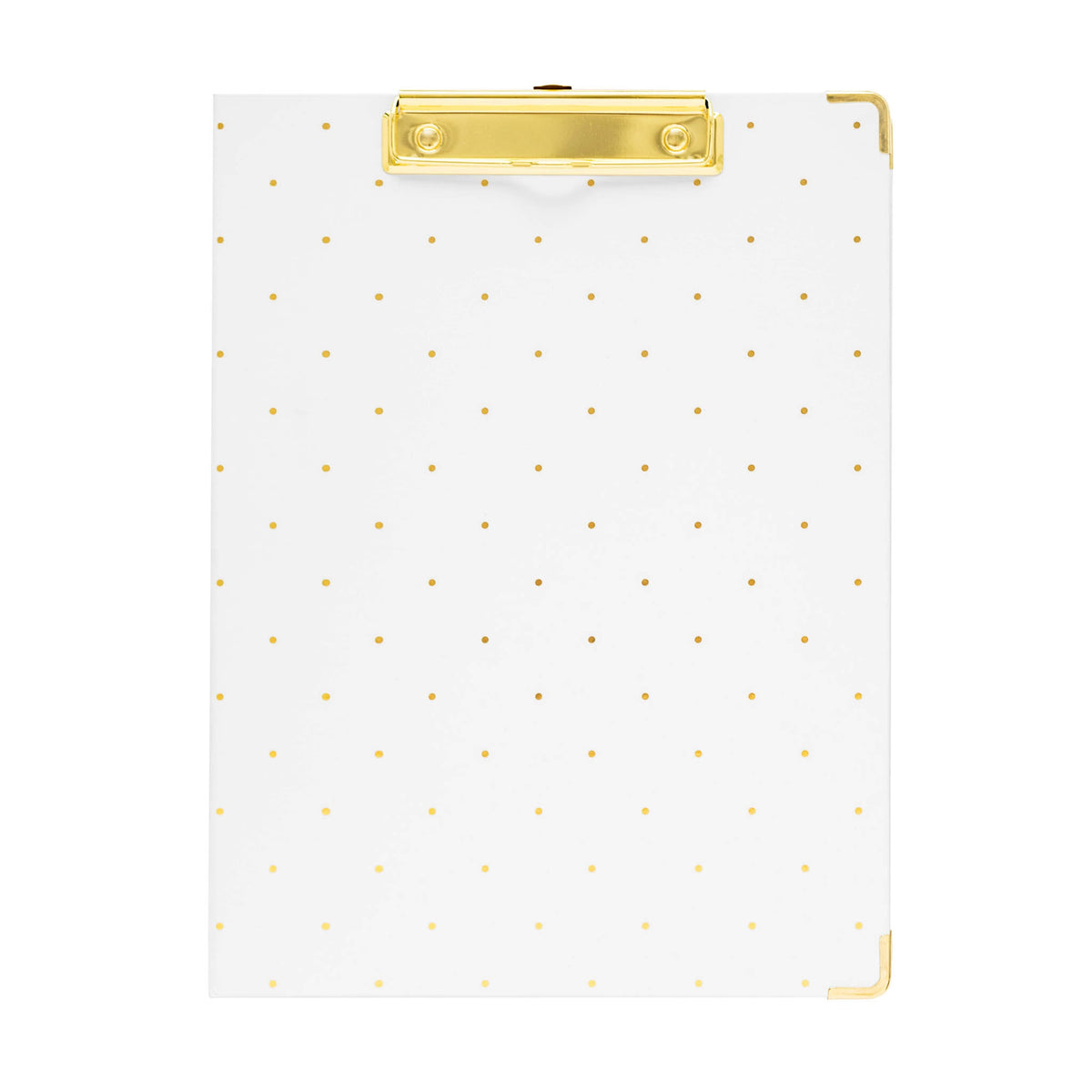White dot with gold clip padfolio