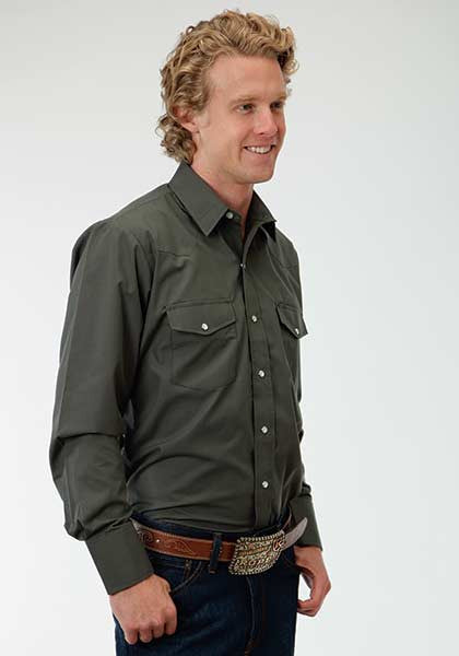 Roper Mens Olive Cotton/Poly Snap Western Shirt