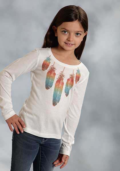 ROPER GIRL'S FEATHER PRINTED KNIT JERSEY TEE